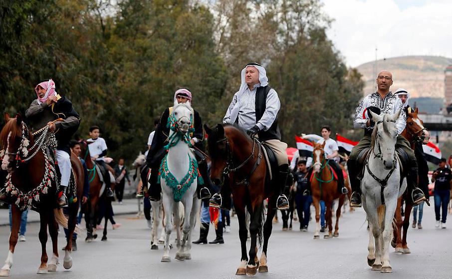 Festival internacional do cavalo árabe Al-Sham no dia em que se comemora a independência da ocupação francesa em 1946, em Damasco, na Síria.