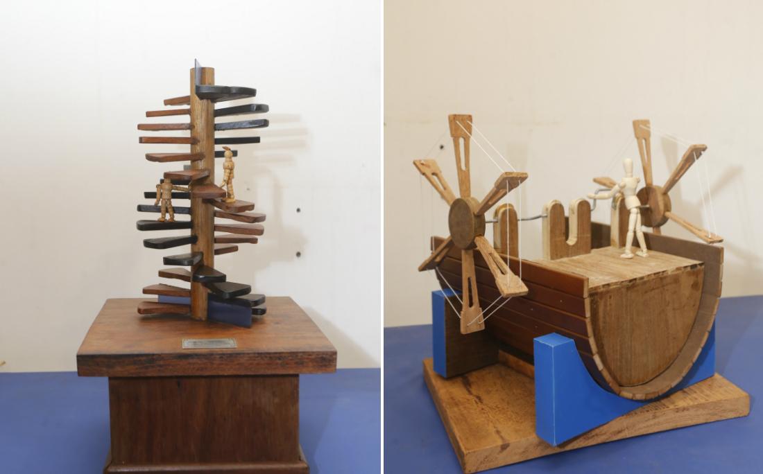 Projeto de escadas e barco bélico desenhados por Da Vinci e criados por Thales