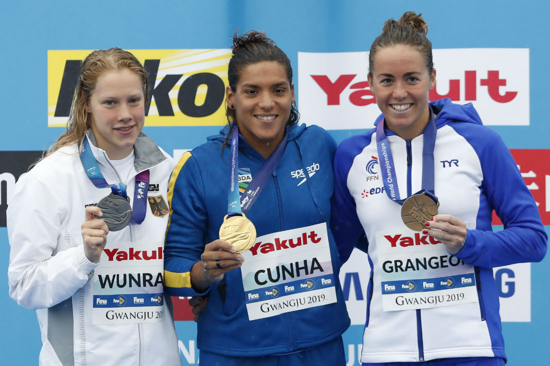 Pódio completo teve Finnia Wunram, da Alemanha, e Lara Grangeon, da França