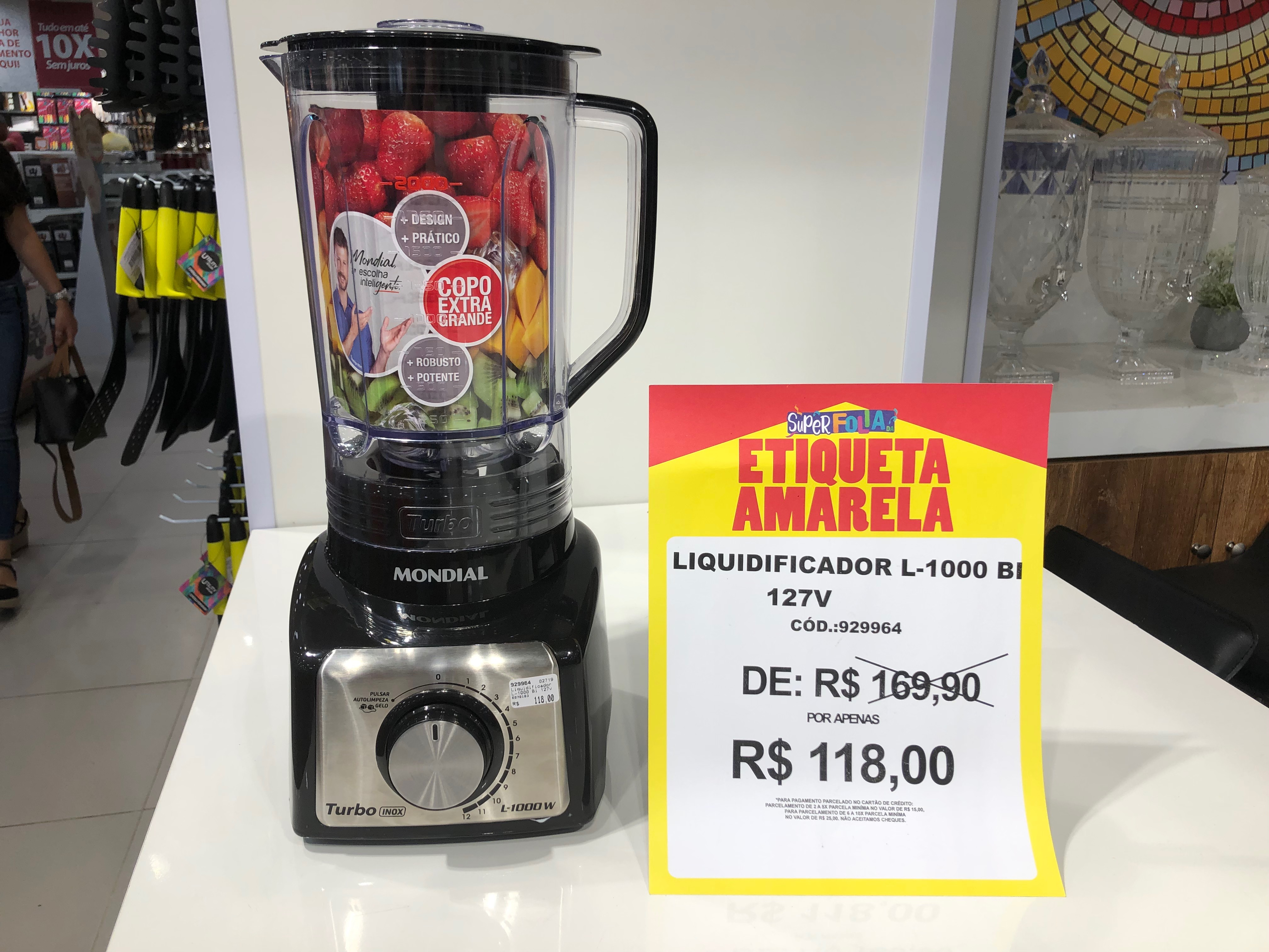 Liquidificador Mondial (Preçolandia - Salvador Shopping) de R$ 169,9 por R$ 118 (30%)