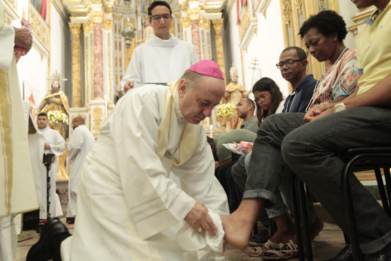 Cerimônia do lava-pés na Igreja de São Pedro dos Clérigos, em 2018