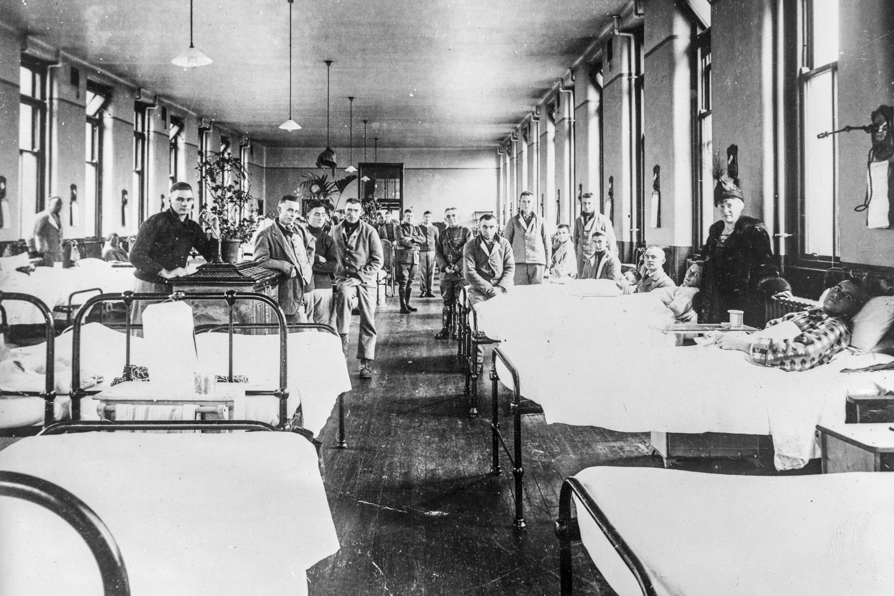 Pacientes de gripe espanhola em Glasgow, na Escócia