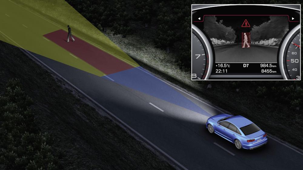 Por meio de uma câmera infravermelha alguns modelos da Audi conseguem detectar pessoas e animais mesmo no escuro