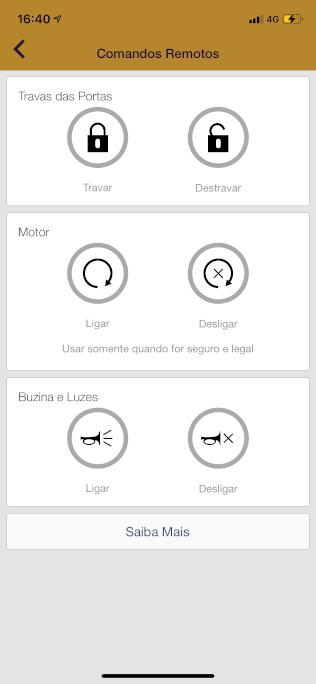 Uma das telas do aplicativo MyChevrolet do Trailblazer